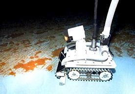 水中ロボットによる清掃・調査の様子